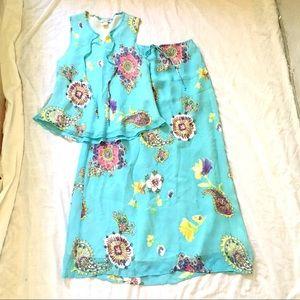 Aqua Poly Sleeveless Top & Maxi Skirt Set SzL $30
